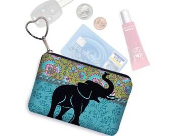 Elephant Small Zipper Pouch Coin Purse Keychain Key Fob Business Card Holder Purse Organizer Hippie Paisley Fabric blue green black