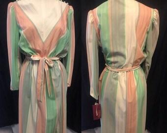 35% Off Sale Mod retro pastel colors long sleeve pencil skirt 1970 large medium