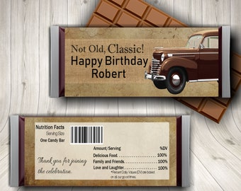 Male Birthday, Classic Car Birthday, Candy Bar Wrapper, Masculine Birthday, Grandpa Birthday, Vintage Car Birthday, Burlap Birthday, Father