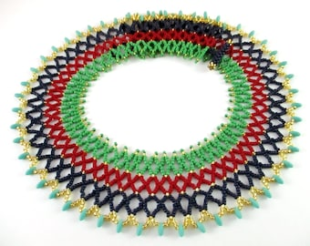 Egyptian Inspired Beaded Collar Necklace