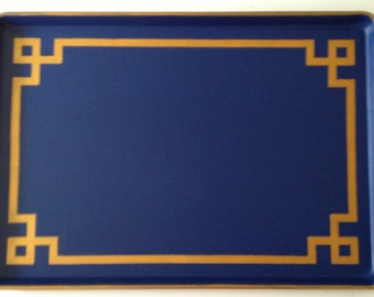 XXL gold Greek key border navy ottoman tray