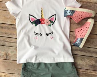 Unicorn T Shirt | Unicorn Face With Lashes | Youth T Shirt | Toddler Girl | Unicorn Shirt