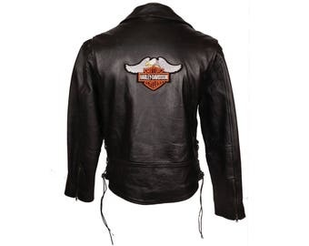 Vintage Leather Motorcycle Jacket Harley Davidson Patch Multiplex Canada M
