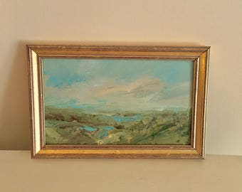 Landscape- Framed- Small Painting  - Original- 5 x 8  approx. inch - including Frame -  Collectible - Fine Art