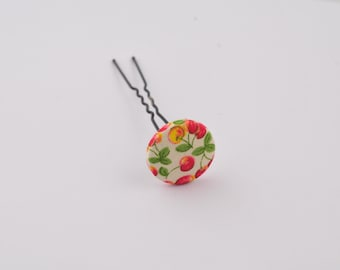 "Hairpin ""cherry"" printed fabric and trimmed with button"
