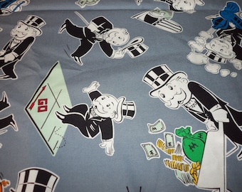 Mr. Money Fabric Monopoly Rare & Hard To Find By The Fat Quarter BTFQ