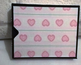 Baby Girl Pink Hearts Mini Hand made Journal / photo album /memory keeper with handmade box. Pocket book
