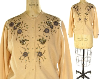50s Beaded Cardigan / Vintage 1950s Button Up Lambs Wool Sweater / Camel with Gold Sequins & Beading / Women's Medium or Large