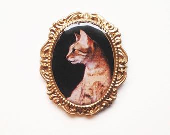 Egyptian mau cat portrait magnet cameo photo magnet gift idea