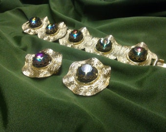 Aurora Bolealis Sara Coventry Bracelet/Clip Earring set.