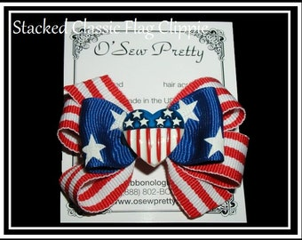 Fourth of July Hair bows, Patriotic Hair Bows,Nautical Hair Bows, Flags, Red white and Blue Hair Bows, Parade Hair bows