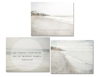 Beach Pictures, Ocean Decor, Beach Decor Print or Canvas Wrap Set, Landscape Photography, Pale Blue, Tan, Taupe, Neutral Beach Art Photos