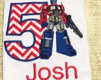 Personalized Transformer inspired Shirt - Transformer inspired Birthday Shirt - Optimus Prime inspired Shirt