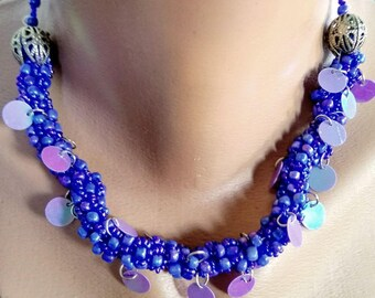 Jewelry nacklace saxe blue lila beads