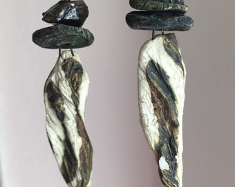 Primitive Ceramic Earrings with Antique Nicklefree Earhook