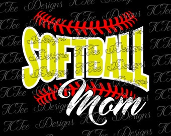 Softball Mom - SVG Design Download - Vector Cut File