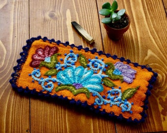Artisan Woven Floral Zipper Pouch- Orange