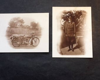 Vintage photographs of Motorcycle and AA uniform rider, 1930's
