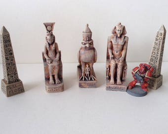 Egyptian Temple statuary. Great accessories for game scenery. 5 piece set, beautifully hand painted.