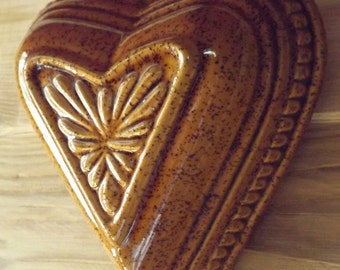 Mold terracotta vintage / antique heart shaped cake Pan / Alsatian pottery stoneware handmade / mold made in France
