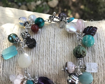 Pretty Dangle Bracelet Sterling Silver Bali Beads And Stones Multi Color OOAK Artist Made With Pearls Garnet Amazonite Amethyst Toggle Catch