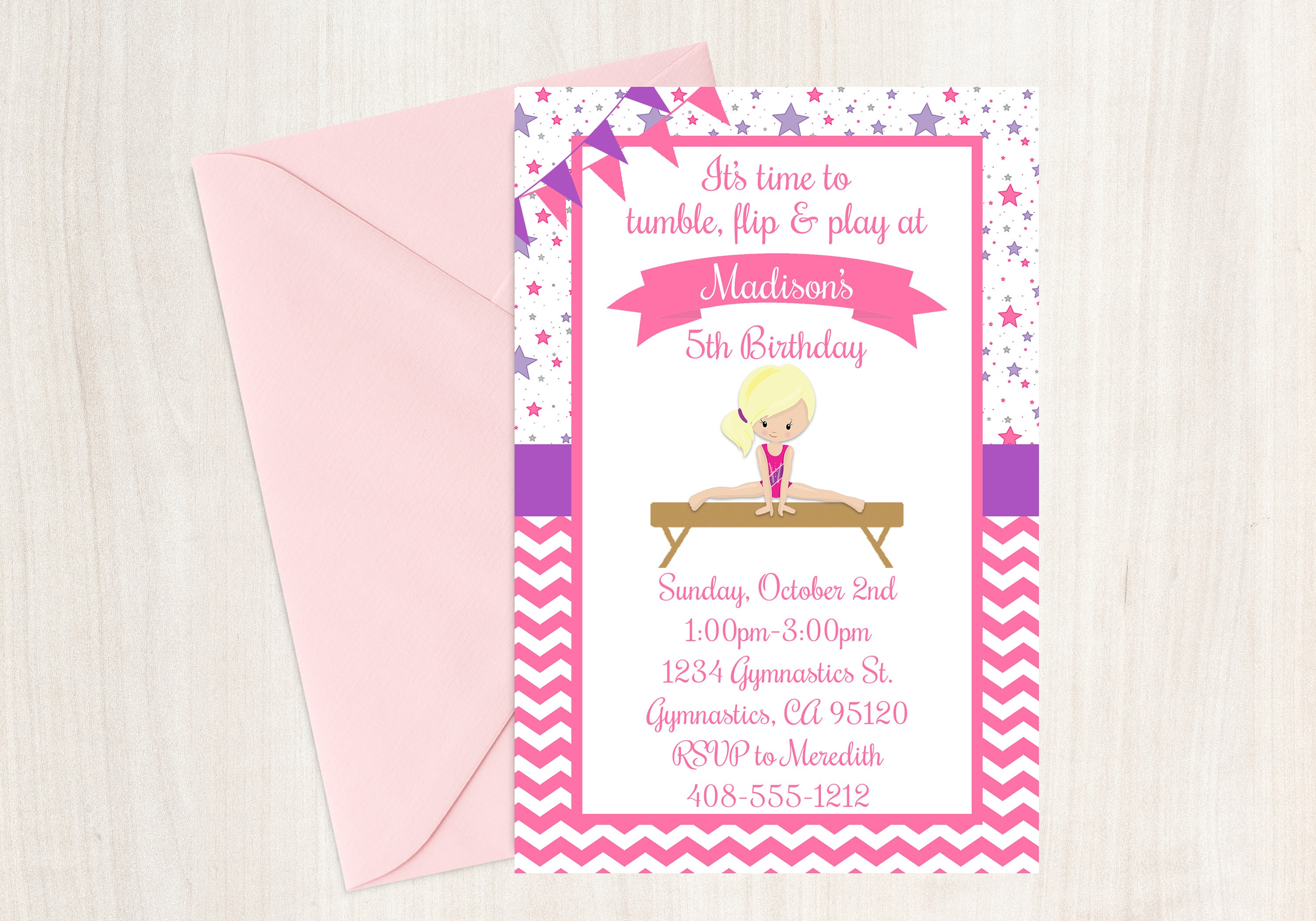 Gymnastic Birthday Party Invitation Gymnastics Party