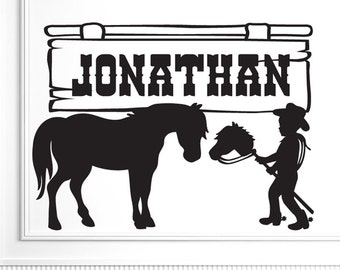 Custom Name Vinyl Decal - Cowboy Wall Decal | Horse Decal, Kids Room Wall Decal | Hobby Horse | Cowboy Nursery Decor | Bedroom Decor