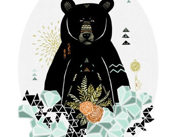 Black Bear Geometric Illustration - Archival Art Print