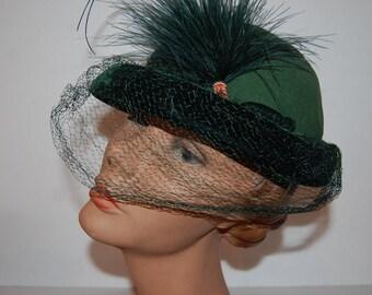 Green Wool & Feather Velvet 1940's Vixen Hat with Veil