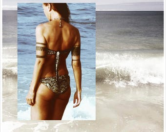 LANA Bandeau Halter Bikini Top and PASHA Low-Rise String-Tie Bikini Bottom