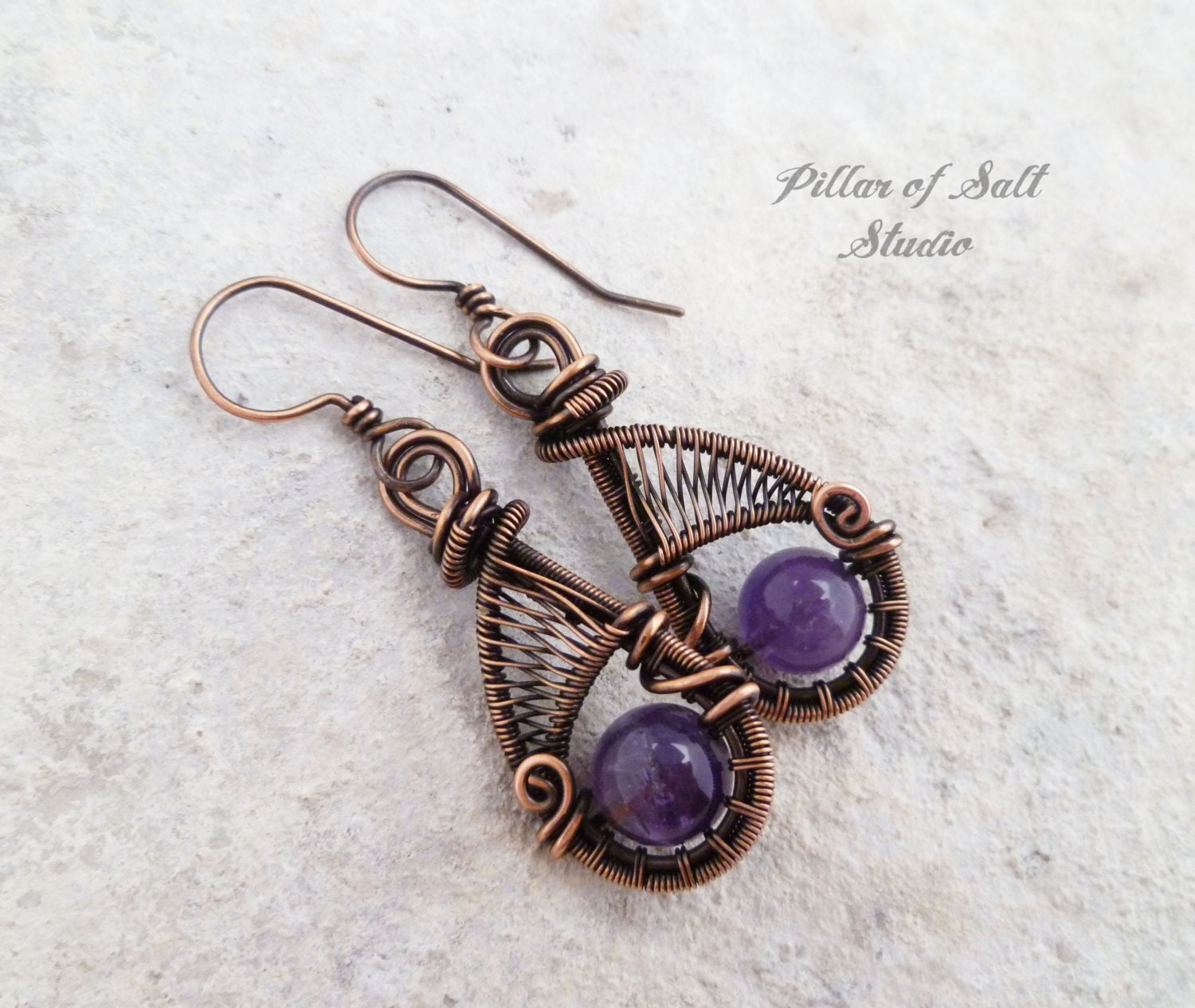 Wire wrapped earrings purple Amethyst wire wrapped jewelry