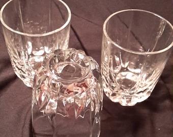 Three Low cut glass tumblers