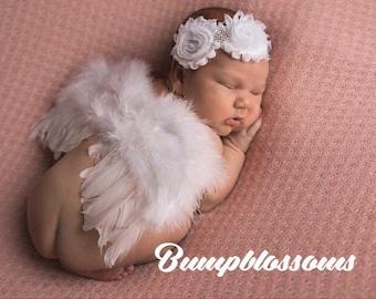 White newborn headband, Angel newborn headband, Flower girl headband, Newborn headband for flower girl, Wedding headband, white headband
