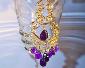 Chalcedony and Amethyst Chandelier Earrings