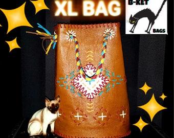 chimayo leather handmade repro vintage  XL bag * rockabilly