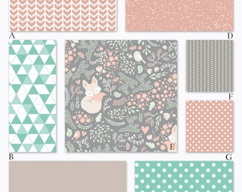 Girl Woodland Baby Crib Bedding in Peach, Mint and Gray - Dozing Fox Collection