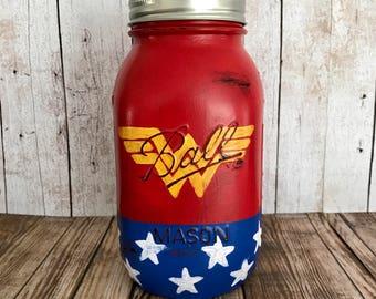 Wonder Woman Mason Jar Bank, superhero, red white and blue, girl's bedroom room decor, birthday gift