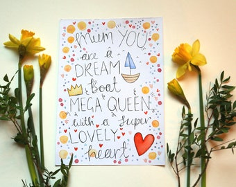 Mum You Are A Dream Boat - A4 watercolour print