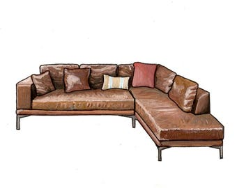 New Girl Couch - Watercolor Print - 5x7 - TV Couches
