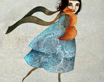 Red Fox and girl print | 8X10 | fox illustration, fox art, woodland animal -- childrens art anti-hunting fox | Lisa Falzon
