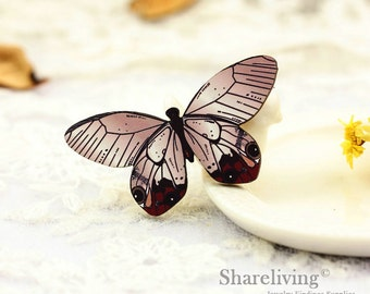 4pcs Wooden Vintage Butterfly  Charms, Laser Cut Wood Butterfly  Pendants, Perfect for Brooch  - HW079B
