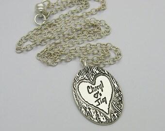 Handwriting Necklace, Handwriting Pendant, Silver Handwriting Necklace, Handwriting Heart, Handwriting Tree, Handwriting Oval, Wedding