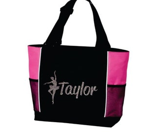DANCE TOTE with Dancer's Name. Dance Bag. Dancer Tote. Dancing Tote. Ballet Tote. Ballet Bag. Name Tote. Gymnastics Tote. Gymnastics Bag.