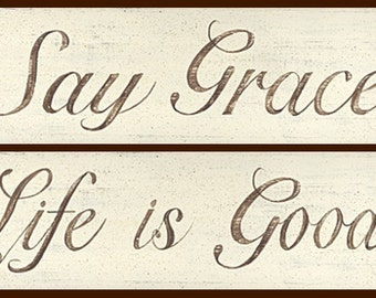 Inspirational WORD prints. Say Grace -or- Life is Good. Distressed brown lettering on a creamy white background. Minimalist decor.