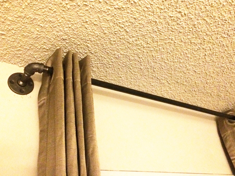 Industrial Pipe Window Curtain Rod Rustic Pipe Bathroom