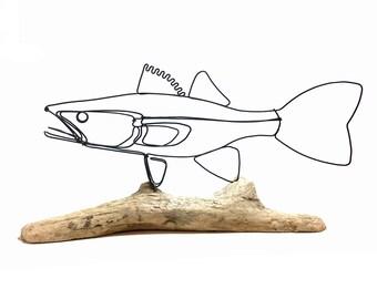 Walleye Wire Sculpture, Fish Wire Art, Minimal Wire Design, 584595131
