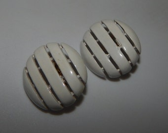 Vintage  Crown Trifari Earrings Gold Tone White Enamel Clip On  Earrings Signed Trifari