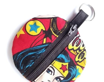 Earbuds Case, Earbud Pouch, Earbud Purse, Earbud Keychain, Fabric Earbud Case, Coin Purse, Earbuds Holder, Wonder Woman Fabric Keychain