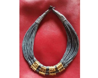 Slate Blue Leather and Brass Necklace