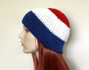 Crocheted Red, White and Blue Beanie (READY TO SHIP!)